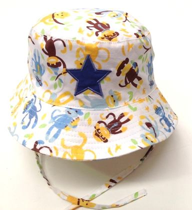1575af5626d 4 Little Ducks – Baby Boys Monkey Bucket Hat – Extra Small 42cm ...